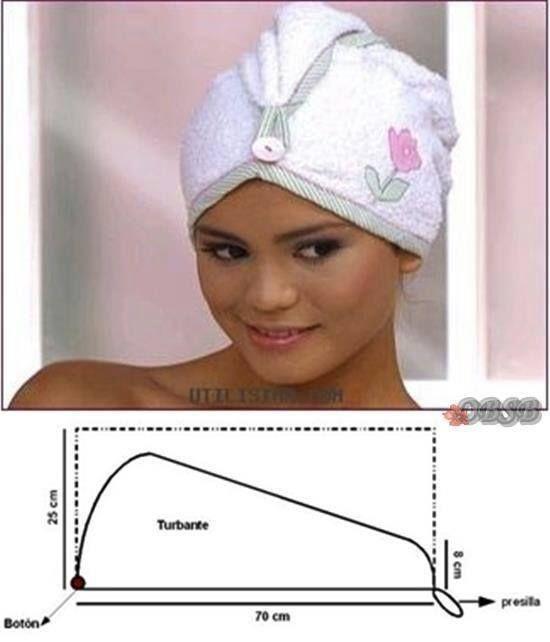 toalla para la cabeza hecha turbante buena idea