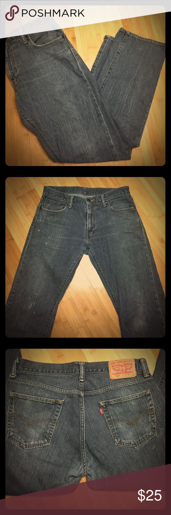 Men's Levi's 514 Straight Fit Jeans Men's Levi's 514 Straight Fit Jeans. These faded dark gray jeans are a favorite classic. These are preloved but well taken care of. Size 34x32 Levi's Jeans Straight