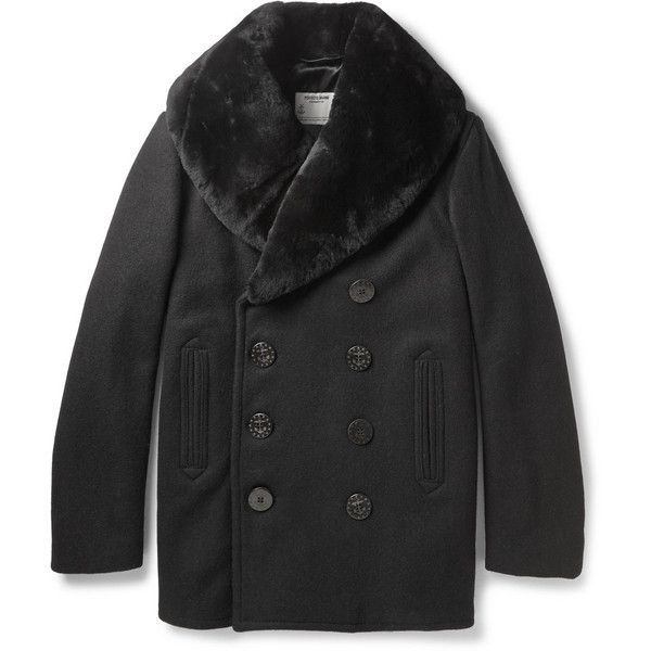 Schott Thompson Shearling-Collar Wool-Blend Peacoat ($595) ❤ liked on Polyvore featuring men's fashion, men's clothing, men's outerwear, men's coats, black, mens double breasted coat, mens fur collar coat and mens double breasted pea coat