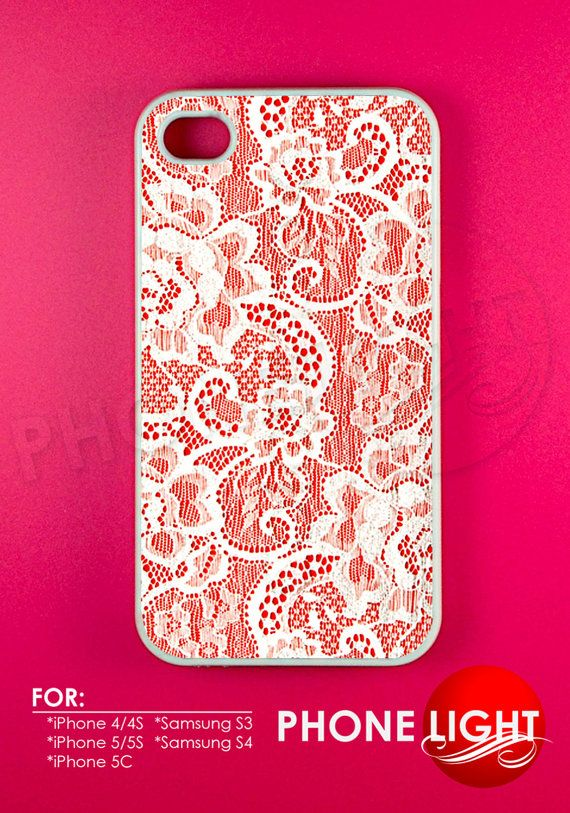 White Lace With a Floral Pattern Phone Case  Rubber by PHONELIGHT, $13.99