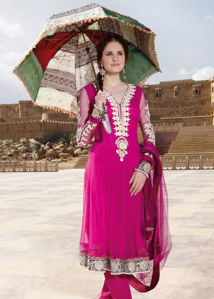 #Georgette Embroiderd #suit with chiffon Dupatta and Dyed rayon Bottom 7202A