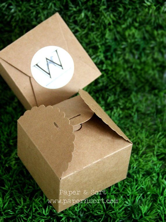 Wholesale - 50 Kraft Brown Paper Scalloped Small Box - Wedding/ Party Favor - Soap/ Cake/ Macaron/ Cookie Packaging - Gift Box