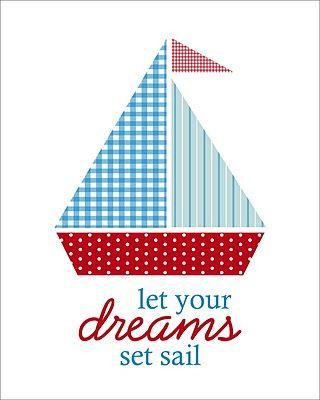 Cute nautical nursery art. (TONS of free printables - holidays, home decor, calendars, etc.)