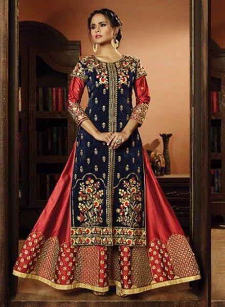 42c685b616 Designer indian wedding wear red & blue indowestern kalidar suit in 2019 |  Latest Designer Anarkali dresses & suits for online shopping | Indian  wedding ...