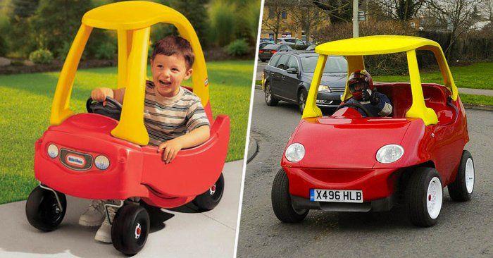 Dos hermanos mecánicos del Reino Unido se dieron a la tarea de inventar un coche Little Tikes de tamaño real apto para circular por las calles de Inglaterra.