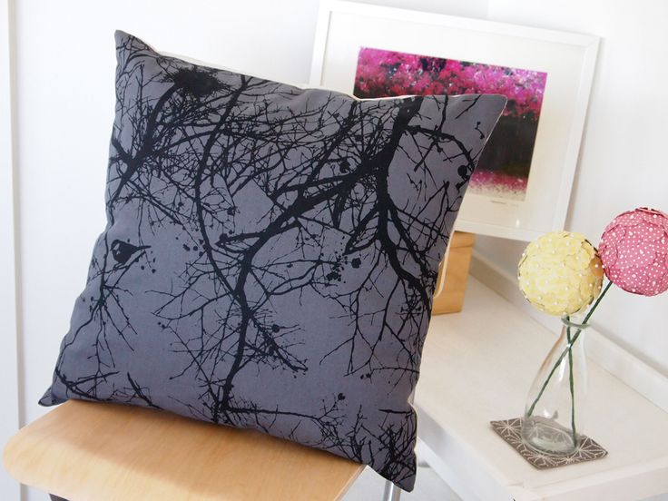 Winters Nest Cushion Cover.  Charcoal on Grey.  Also available Red on Natural.