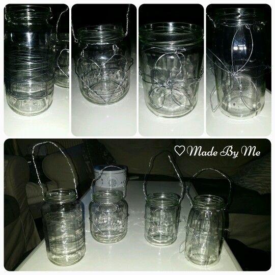 Windlichtjes van lege glazen potten bewerkt met ijzerdraad, super simpel en leuk voor in de tuin!!♡