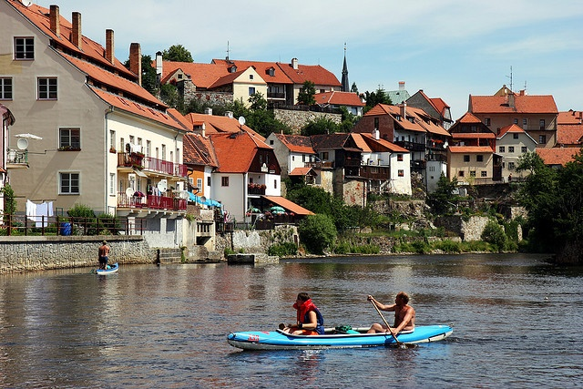 Kayaking down the river that snakes through Český Krumlov (Czech Republic) is a popular thing to do.