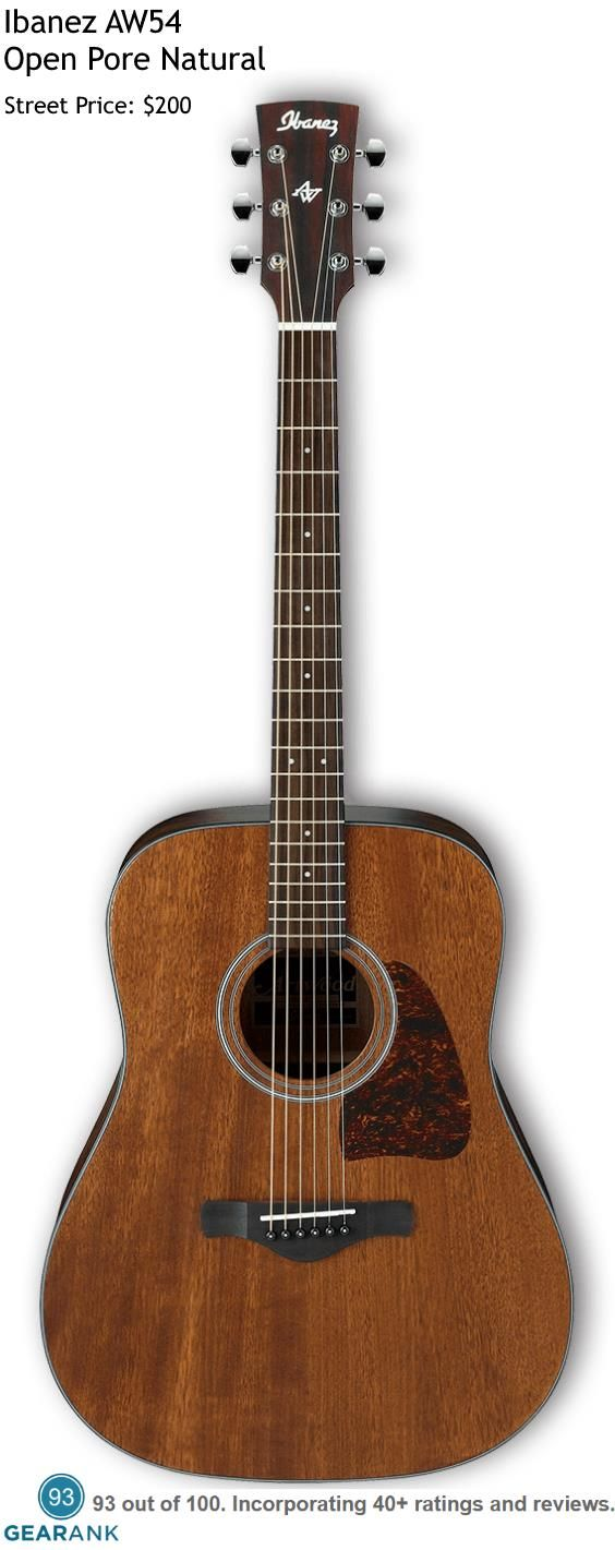 The Ibanez AW54 Open Pore Natural is the highest rated acoustic guitar under $200 with a regular price of $199.99.  For a Detailed Guide to Acoustic Guitars see https://www.gearank.com/guides/acoustic-guitars