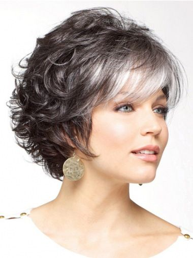 Short Curly Synthetic Grey Wigs
