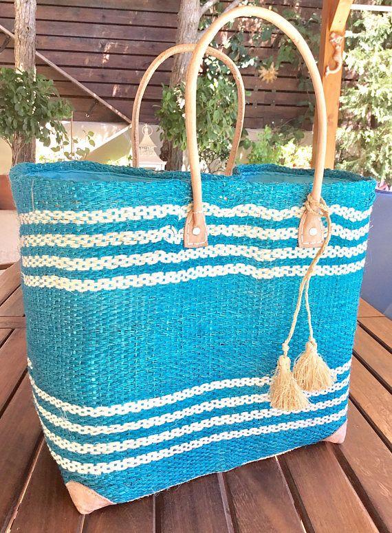 Large beach tote sisal bag raffia bag tote bag straw bag