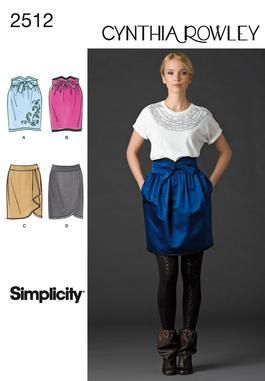 Misses' skirts Cynthia Rowley pattern 2512 Simplicity