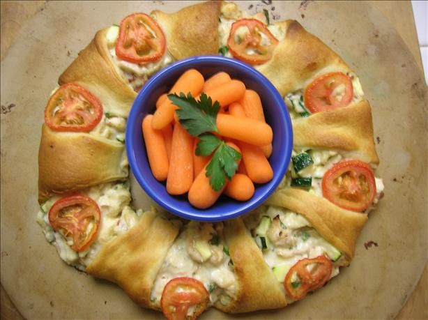 Chicken Club Brunch Ring from Pampered Chef  - not usually a big fan of pre-fab ingredients, but I really like this recipe, which uses refrigerated crescent roll dough.  It's perfect for a luncheon or a simple evening meal.  Super yummy!
