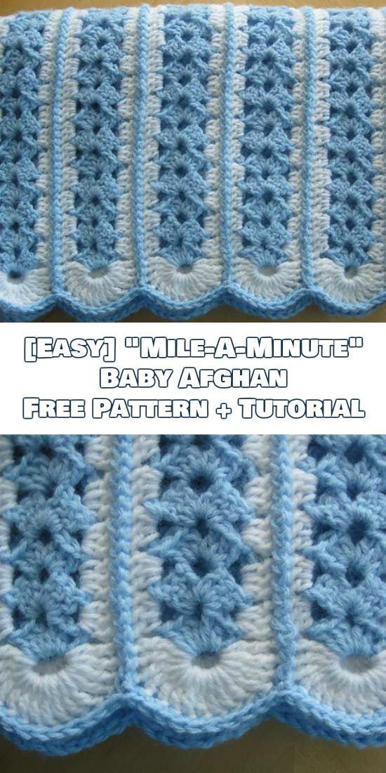 "[Easy] ""Mile-A-Minute"" Baby Afghan Free Crochet Pattern + Tutorial"