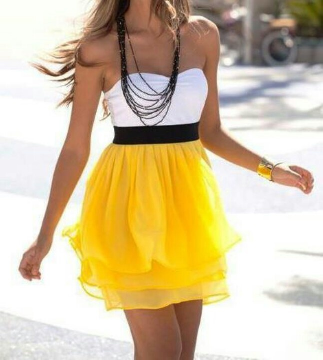 white, black and yellow dress Tops & Tees @ http://enjoytheshop.com/product-category/women/tops-tees/