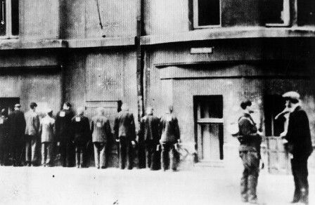 A group of Jewish detainees in Liepaja, Latvia, before they were shot to death. World War Two
