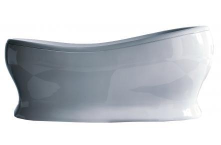 Fristående badkar med mjuka linjer. Finns även i guldfärg,