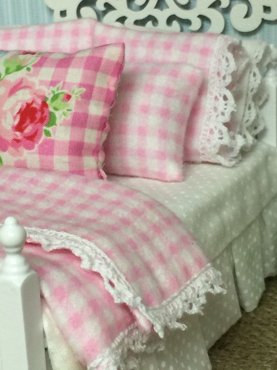Cottage checks and Floral Collection Bed and by RibbonwoodCottage