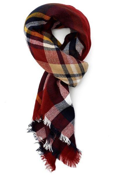 Red Navy Fashion Classic Scottish Plaid Scarf