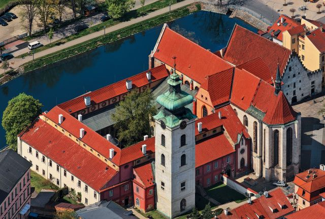 Piarist square in České Budějovice from the air #Czechia