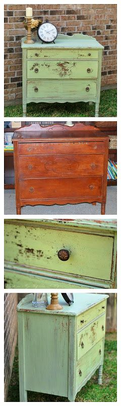 MissMustardSeed Dresser MilkPaint Before and After! What a stunning transformation using a non-traditional color!