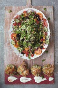 Modern Greek salad spinach, chickpea & feta parcels
