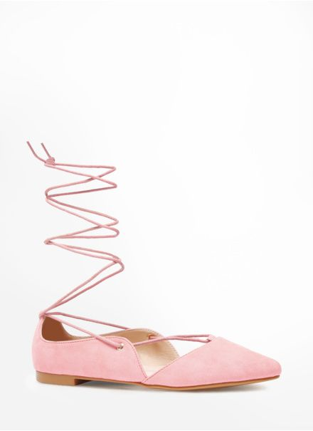 Różowe wiązane balerinki Excision