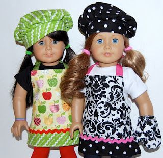 """18"""" Doll Chef Set- FREE Sewing Pattern--Made this for my niece for Christmas. Fit her American Girl doll perfectly! Tutorial was easy to follow too."""