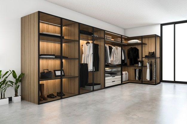 3d Rendering Minimal Scandinavian Walk In Closet With Wood Wardrobe In 2020 Wood Wardrobe Minimalism Interior Walk In Closet