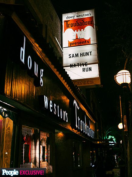 One Day on the Road with Sam Hunt | OUT OF THIS WORLD   | The view from outside the Troubadour – with Hunt's name!