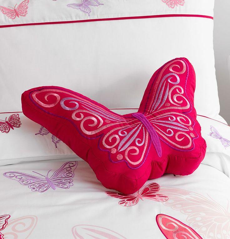Fly Butterfly Cushion From Kids Bedding Dreams #girls #bedroom #butterflies