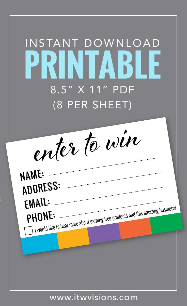 Instant download printable great for rodan and fields consultants to use at big business launch... enter to win a prize... a great way to get product into your potential customers hands.  business cards, give it a glow, marketing, graphic design, digital design, instant download printable, high resolution pdf