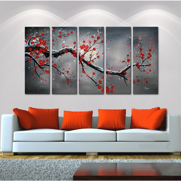 This Winter Plum five-piece oil hand-painted canvas art set makes a perfect focal point for a large wall. Shades of white, grey and black are accented with romantic red tones on this gorgeous canvas a