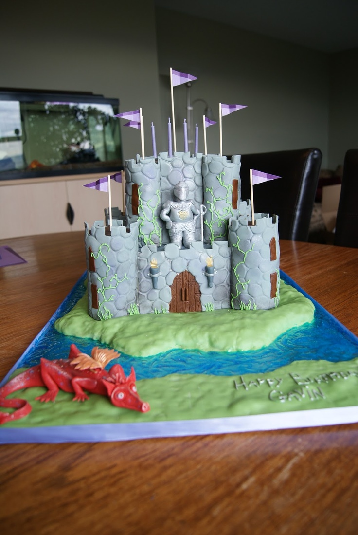 3D Castle, knight and dragon