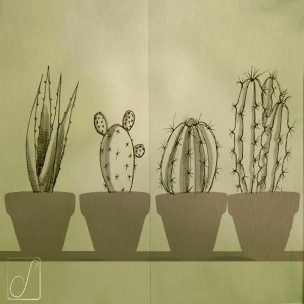 Cactaceae- Una grande famiglia le succulente, circa 10mila specie ed un'unica regola: accumulare acqua come se non ci fosse un domani! E proprio per questo temono le eccessive innaffiature più del freddo…che tanto quello nel deserto se lo beccano tutte le notti. #inktober  #inktoberaduntratto #erbologiababbana #erbarium  #sketchbook #shadow #Cactus