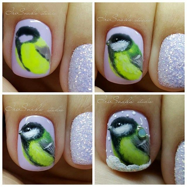 @Regrann from @irisnails_studio -  Процесс создания птички-синички ручная…