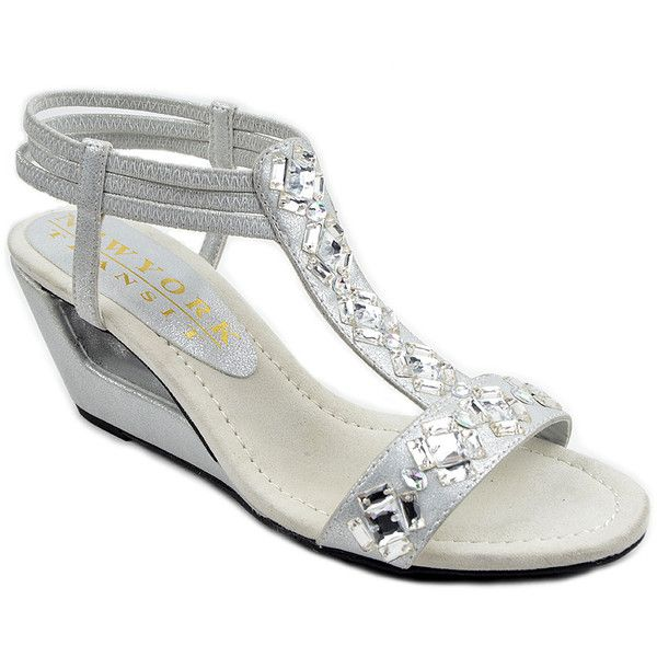 New York Transit Silver Rhinestone Variety Sandal ($25) ❤ liked on Polyvore featuring shoes, sandals, mid-heel sandals, rhinestone sandals, rhinestone wedge sandals, silver wedge shoes and silver wedge sandals