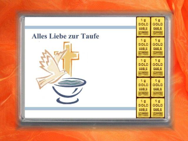 10 x 1g Gold zur Taufe mit Taube und Taufbecken