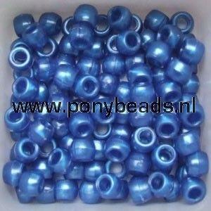 Haarkralen parelmoer blauw / Pony beads pearlescent blue