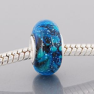 ".925 AUTHENTIC SOLID STERLING SILVER PANDORA STYLE ""BLUE SPACE"" MURANO GLASS BEAD - NOT THREADED  THIS BEAD FITS: CHAMILIA, PANDORA, TROLLBEAD, BIAGI These Beads are Very High Quality HOLE SIZE: Approximately 4.5 mm"