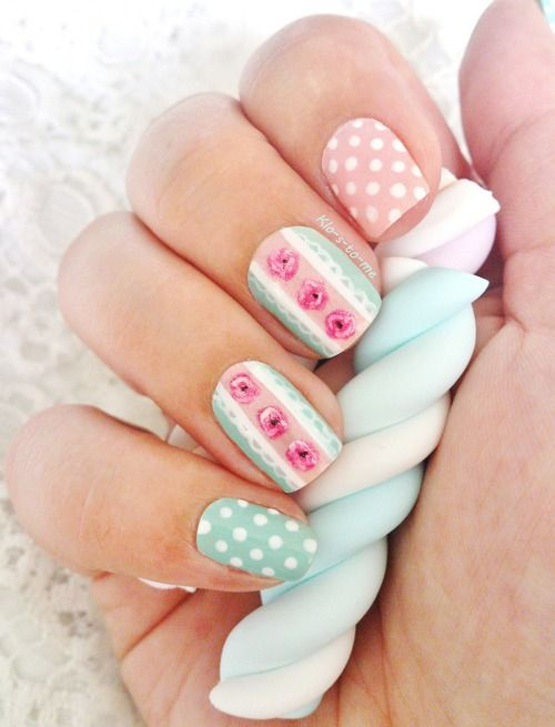 Mint green w roses and polka dots