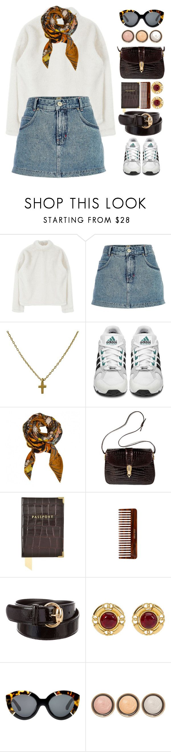 """Untitled #394"" by mathildejohannessen ❤ liked on Polyvore featuring River Island, adidas Originals, Hermès, Gucci, Aspinal of London, (MALIN+GOETZ), Karen Walker and By Terry"