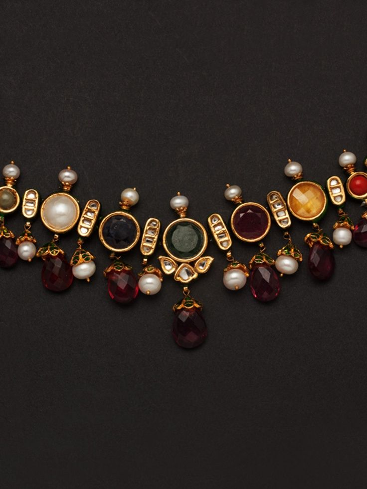 Multi colour stone necklace with kundan and pearls