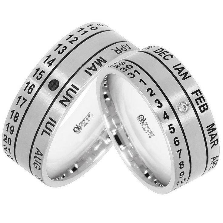 Verighete personalizate WEDDING DAY aur alb