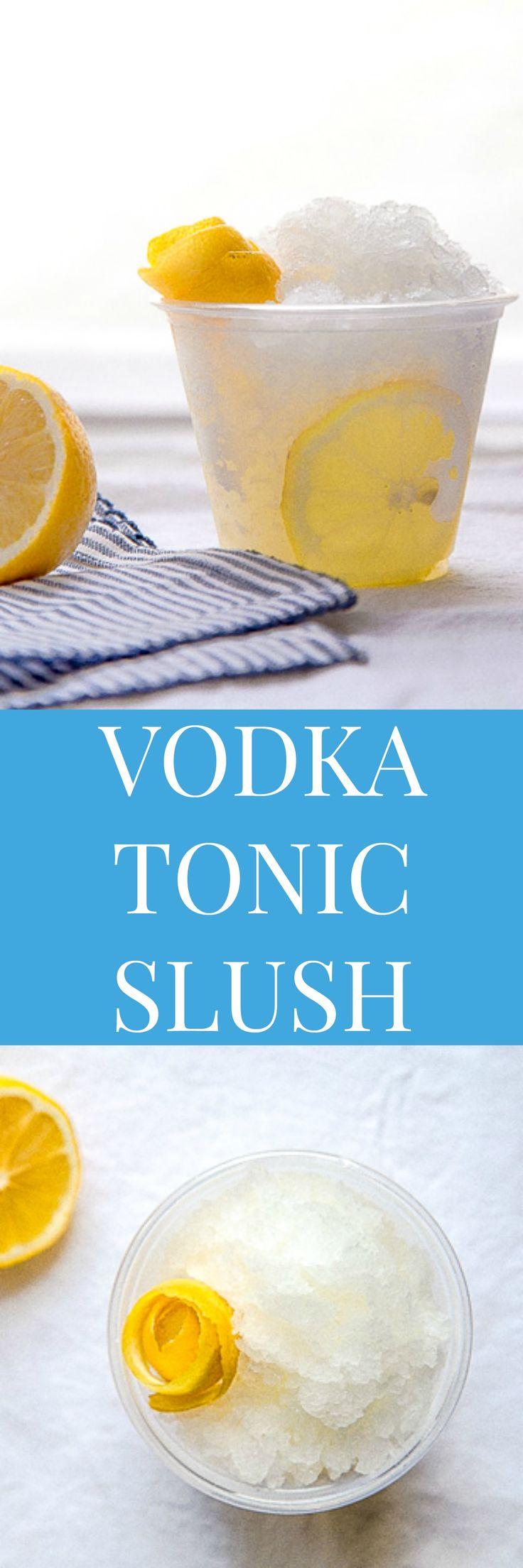 Alcoholic slushie: frozen vodka cocktail tonic slushy. @DessertForTwo