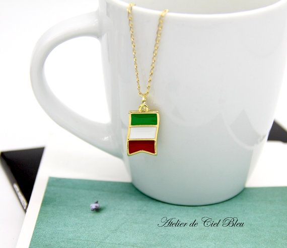 Italian Flag Necklace  Gold Italian Flag by AtelierdeCielBleu
