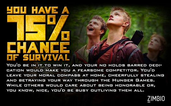 I have a 75% chance of surviving the Hunger Games? What about you?