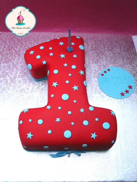 #tarta con forma de uno, para celebrar el primer #cumpleaños de Jacobo