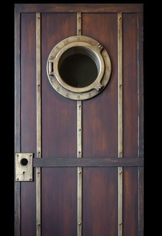 Beautiful door with porthole & metal trim by DaVinci Doors