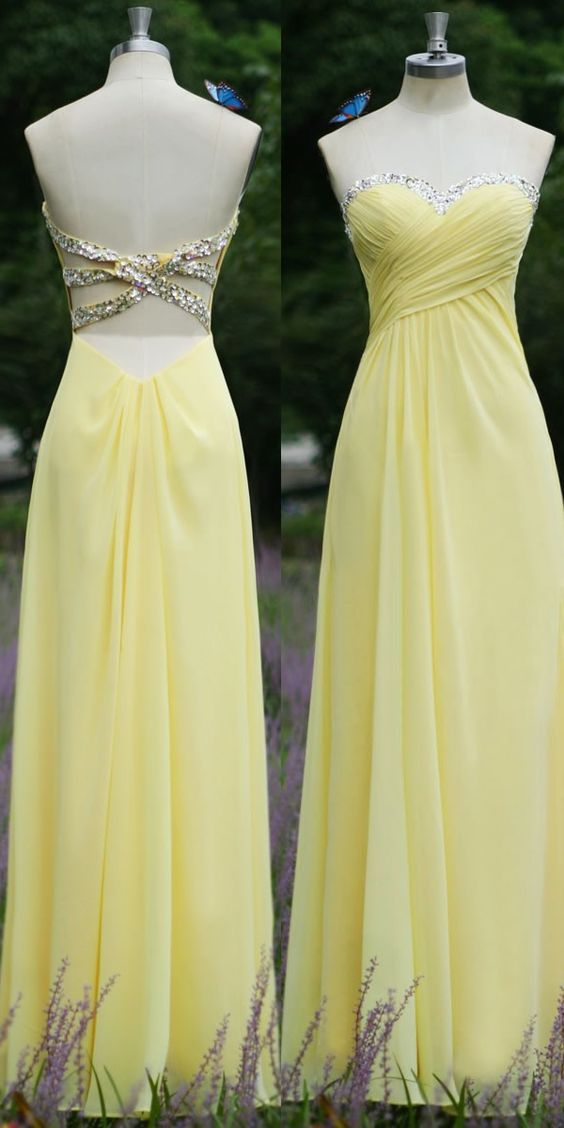 Hot Sale Sweetheart Sequined Ruched Prom Dresses Backless Chiffon A-Line Full Length Prom Gown, open back evening dress, backless prom dress, Full Length Prom dress, beading graduation dress, beaded cocktail dress, yellow party dress
